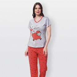 Pijama barato de primavera para mujer, con manga corta pantalón largo 100% algodón modelo Sweet dreams rojo