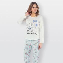 Pijama algodón estampado camisa color curdo y pantalón azul, Good Morning