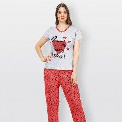 Pijama barato de primavera para mujer, con manga corta pantalón largo 100% algodón modelo Need