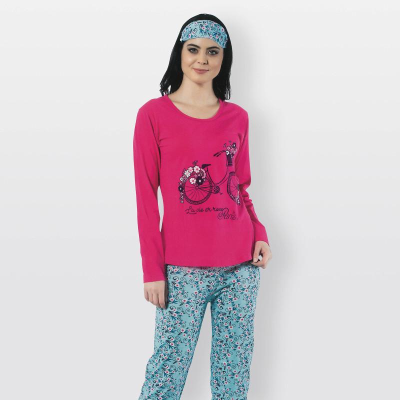 Pijama mujer para invierno con estampado de bicicleta en tono salmón modelo La Vie