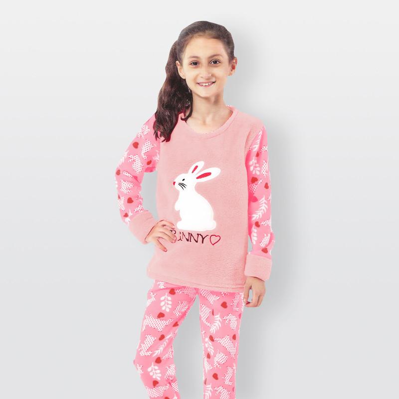 Pijama de invierno para niños. Pantalón polar y camisa afelpada Bunny rosa